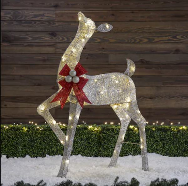 48-in Doe Sculpture with Clear LED Lights