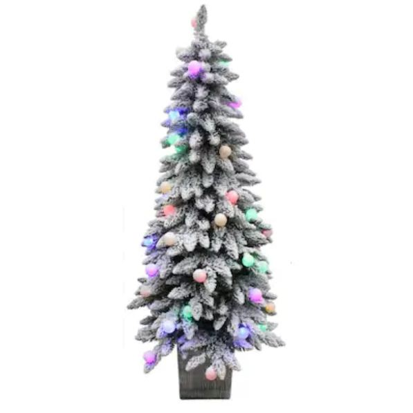 Holiday Living 5-ft Pre-lit Spruce Slim Flocked Artificial Christmas Tree